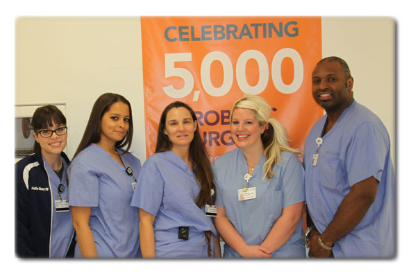 Dr Richardson with surgical team recognizing the 5000th robotic procedure performed at Rochester General Hospital