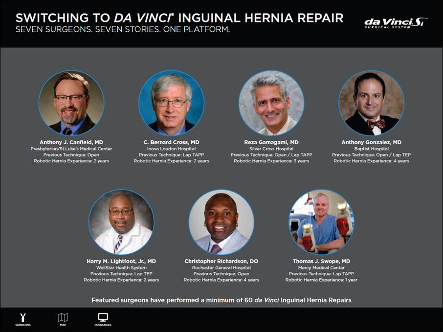 Dr. Richardson recognized as leading surgeon with over 200 Inguinal Hernia Repairs with DA Vinci.